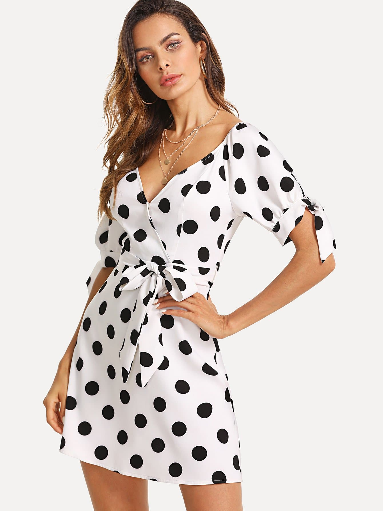 Knot Cuff Polka Dot Wrap Dress knot back polka dot wrap top