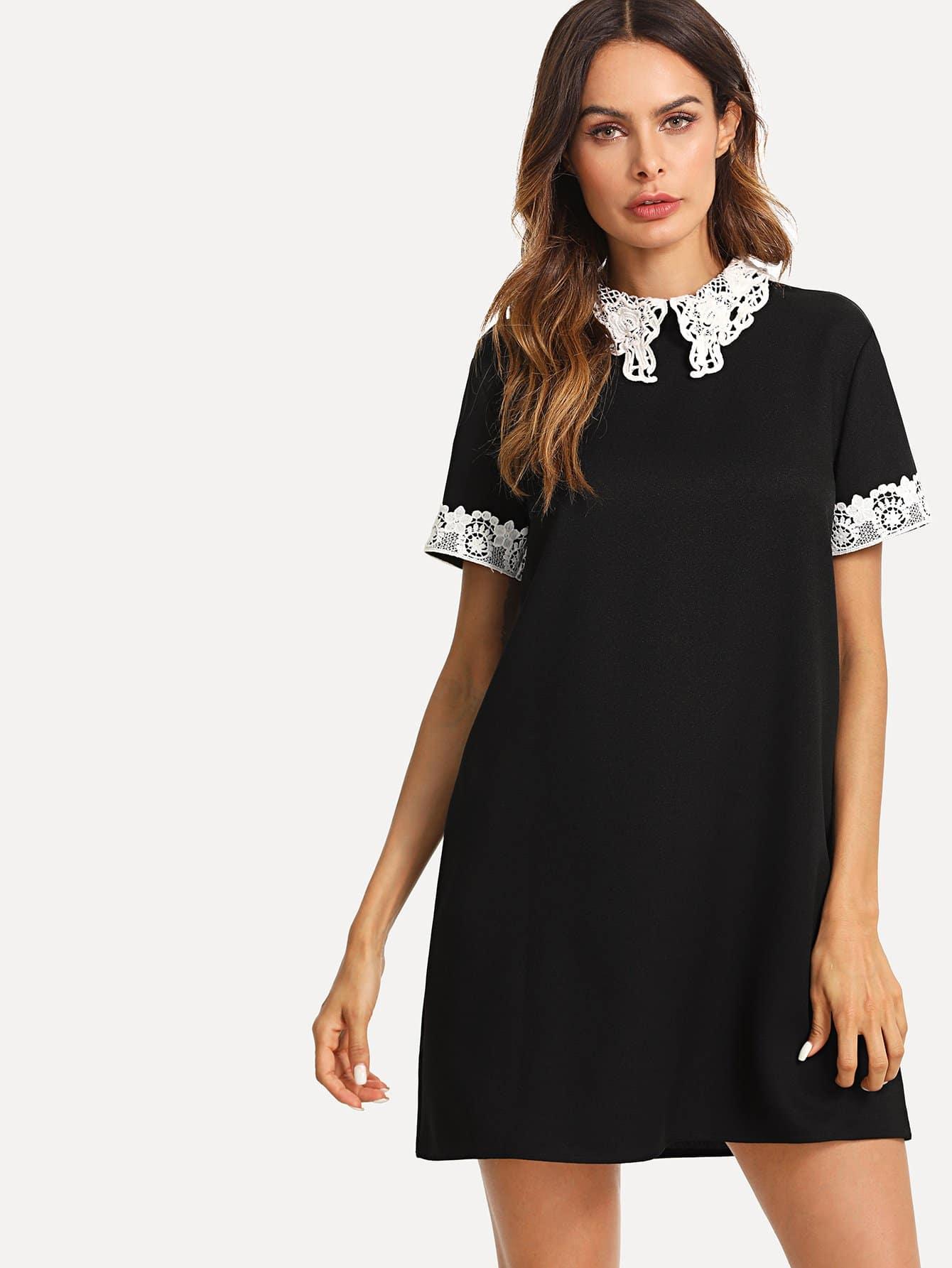 Lace Collar and Cuff Tunic Dress lace collar and cuff tunic dress