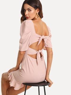 Puff Sleeve Knotted Back Ruffle Dress