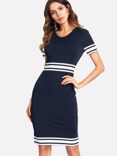 Stripe Print Pencil Dress