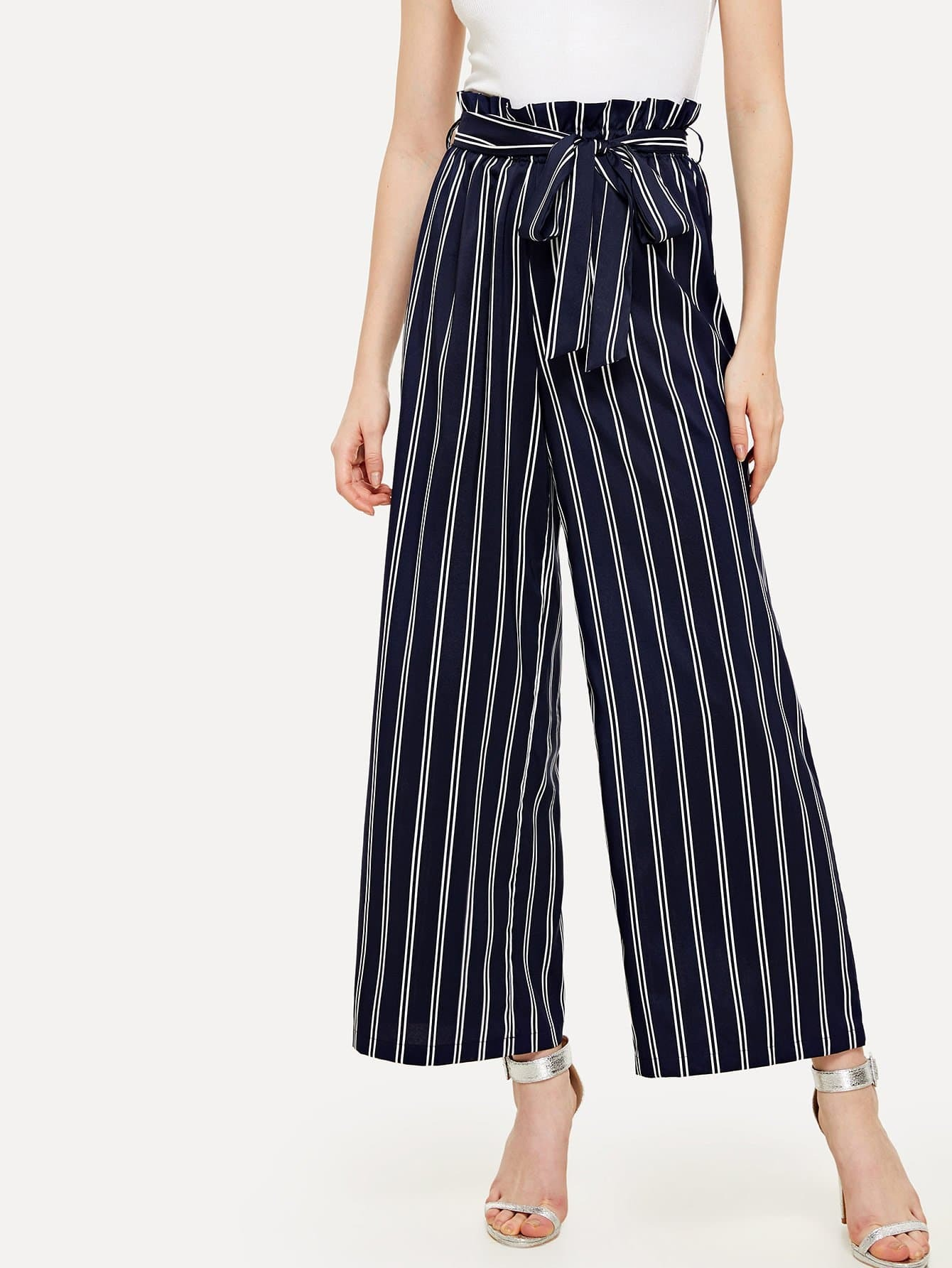 Self Tie Wide Leg Pinstripe Pants bow tie side wide leg pants