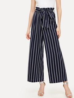 Self Tie Wide Leg Pinstripe Pants