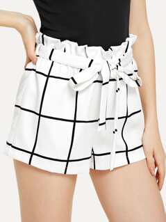Belted Ruffle Waist Grid Shorts