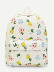 Pineapple & Floral Print Backpack