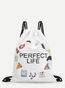 Emoticon Grocery Drawstring Backpack