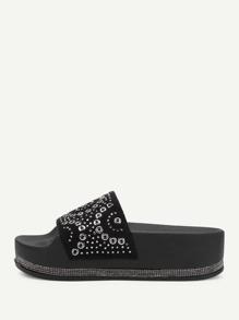 Geometric Pattern Flatform Sandals