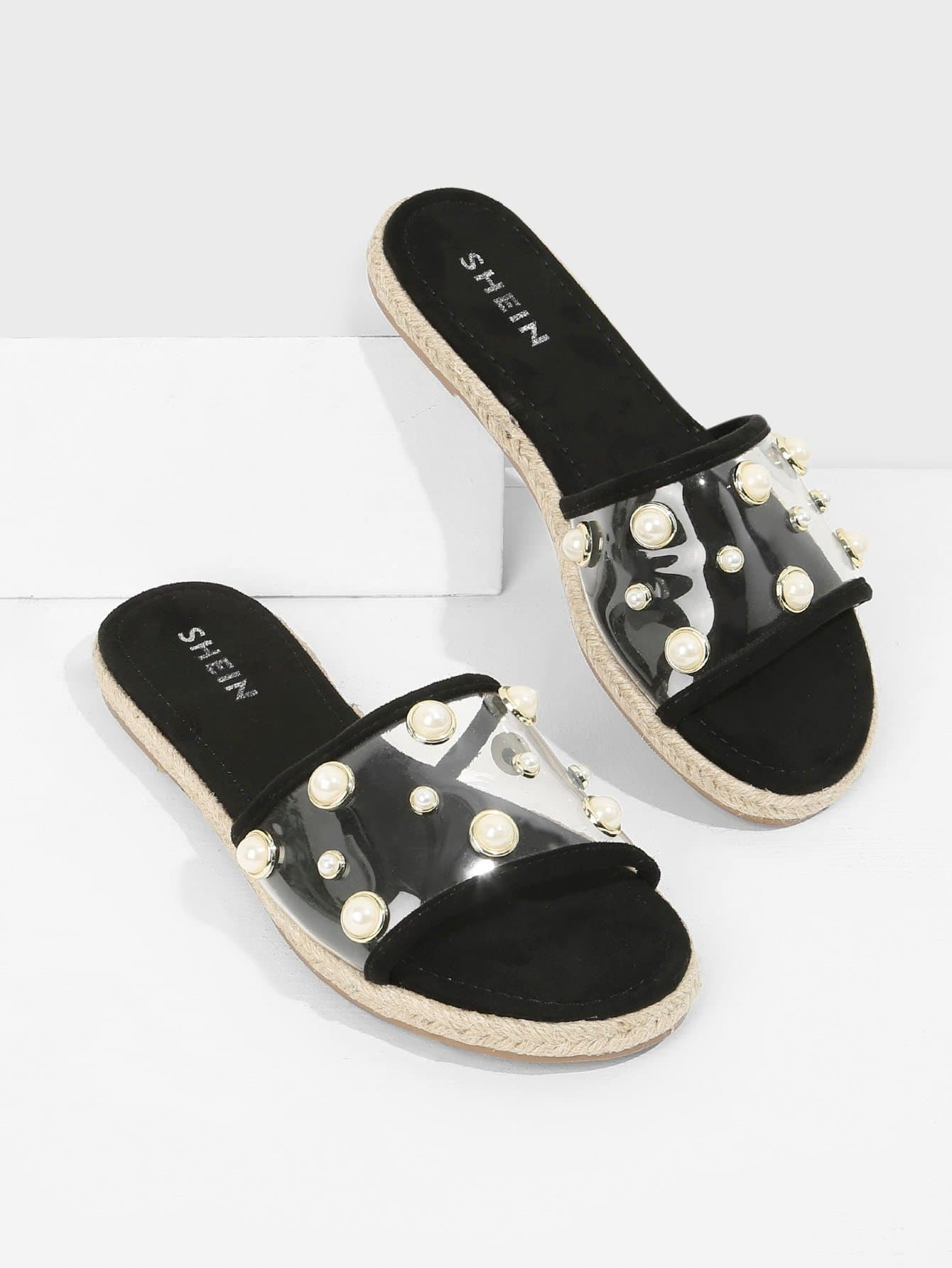 Faux Pearl Decorated Flats characteristic faux crystal beads decorated faux pearl embellished barefoot sandal for women (one piece