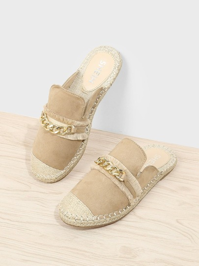 Chain Detail Espadrille Sandals