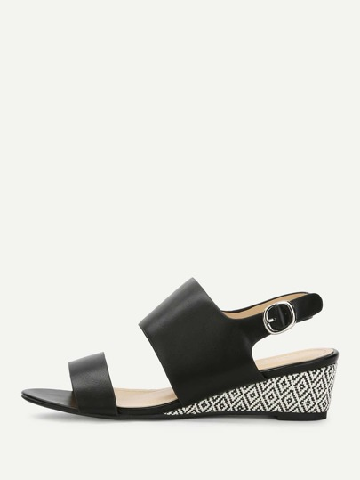 Two Part Espadrille Wedged Sandals