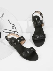 Eyelet Detail Mule Sandals