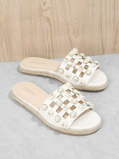 Faux Pearl Cut Out Sandals