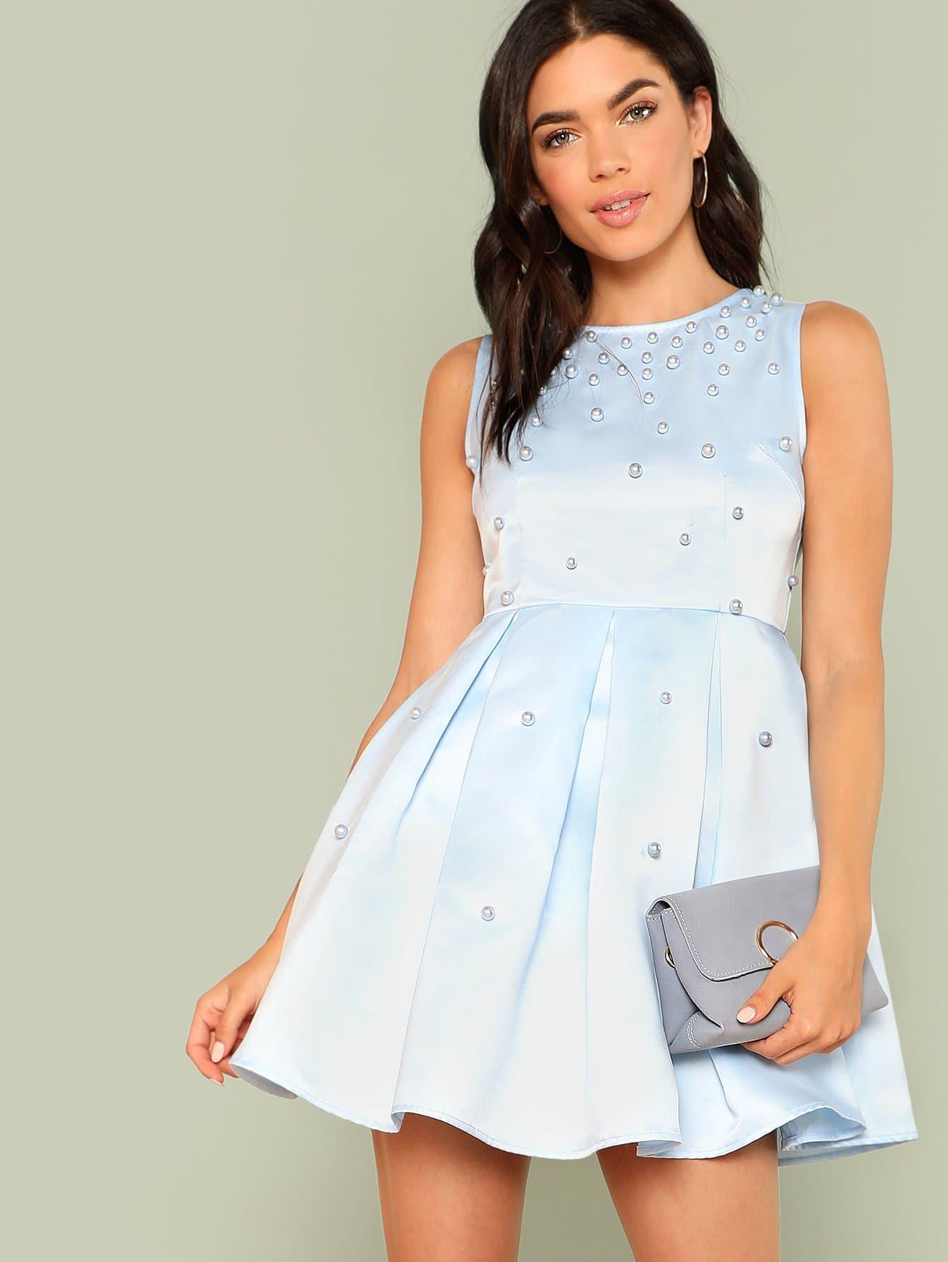 все цены на Pearl Embellished Pleated Satin Dress