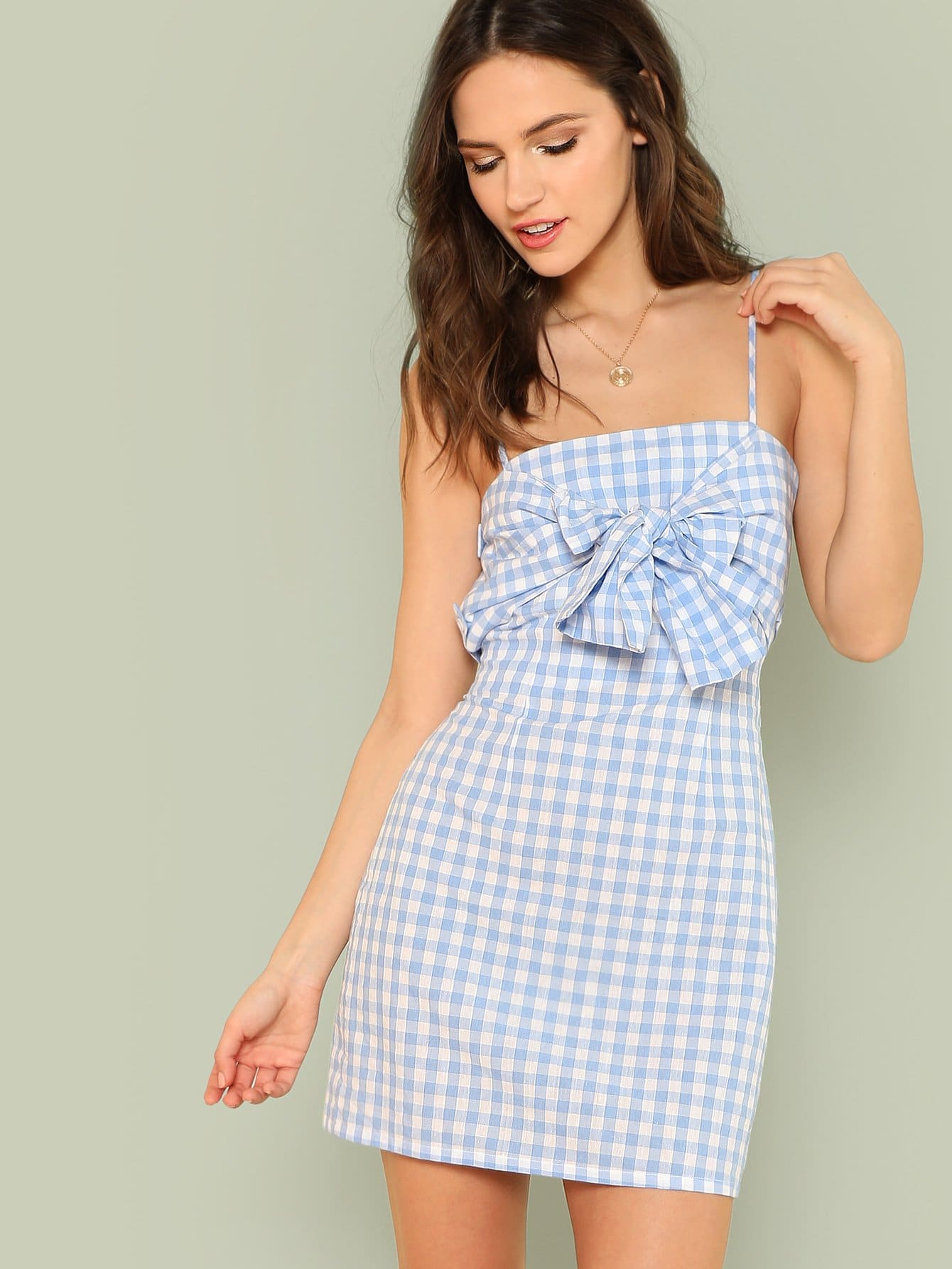 Bow Knotted Front Gingham Slip Dress knotted bow gingham headband 2pcs