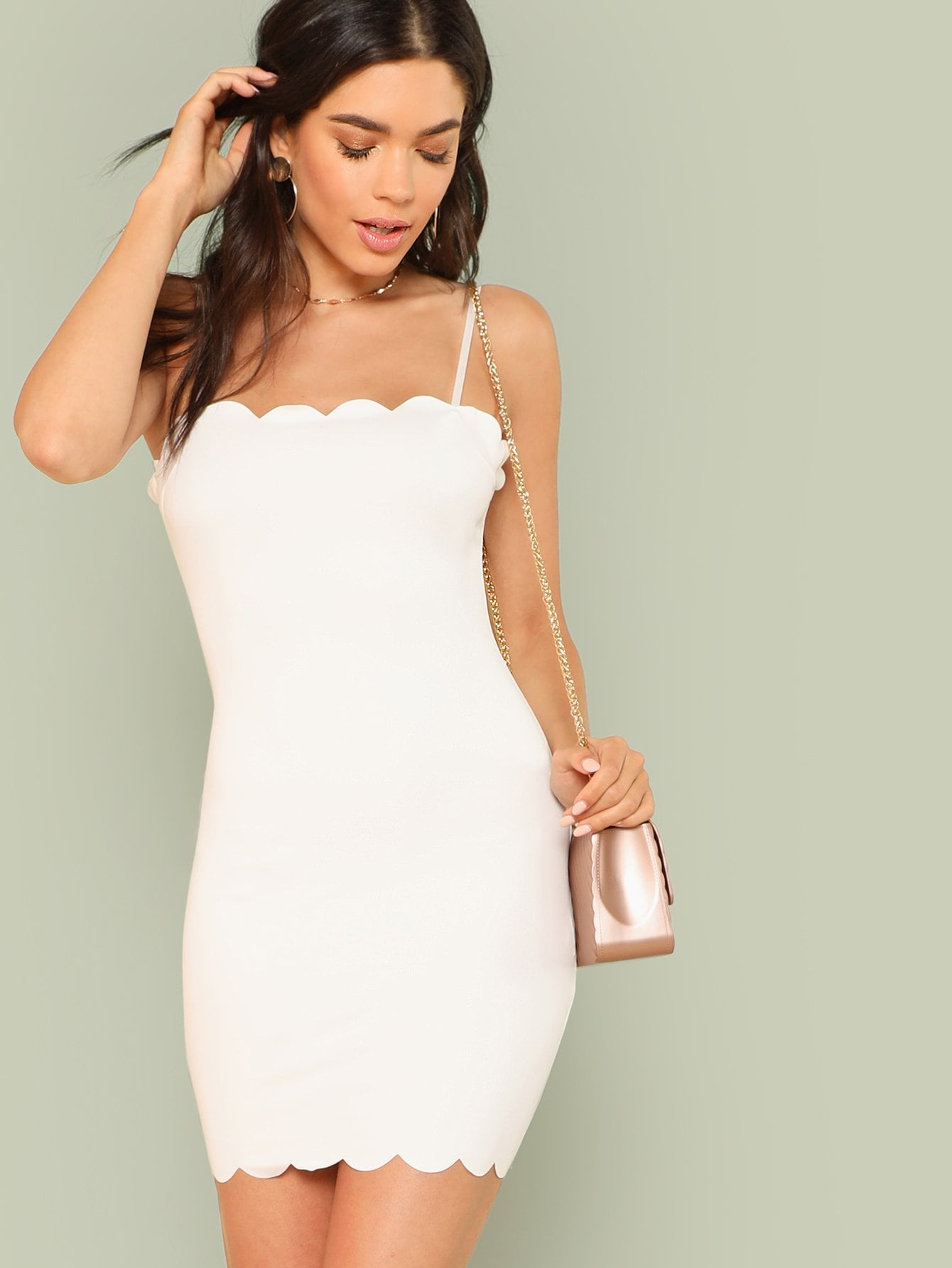 Form Fitting Scalloped Cami Dress scalloped fitting tee