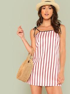 Contrast Binding Striped Cami Dress