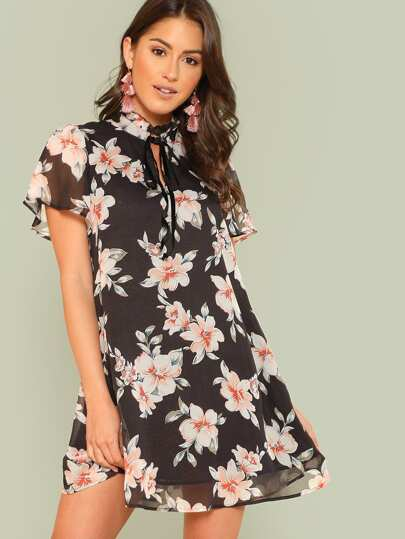 Frilled Tie Neck Floral Dress