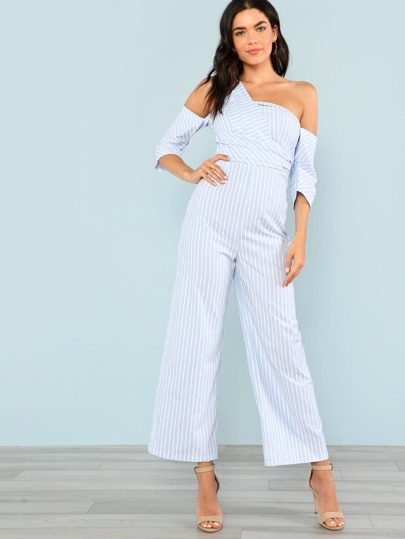 Fold Detail Asymmetrical Neck Pinstripe Jumpsuit