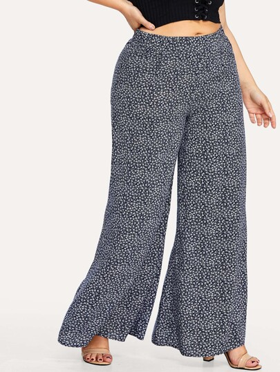 Elastic Waist Wide Leg Calico Pants
