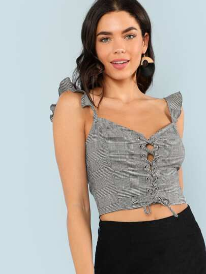 Lace Up Front Ruffle Trim Plaid Crop Top