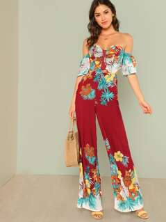 Tropical Print Off Shoulder Jumpsuit with Tie Back
