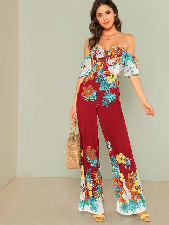 7177d01d0fdd Tropical Print Off Shoulder Jumpsuit with Tie Back