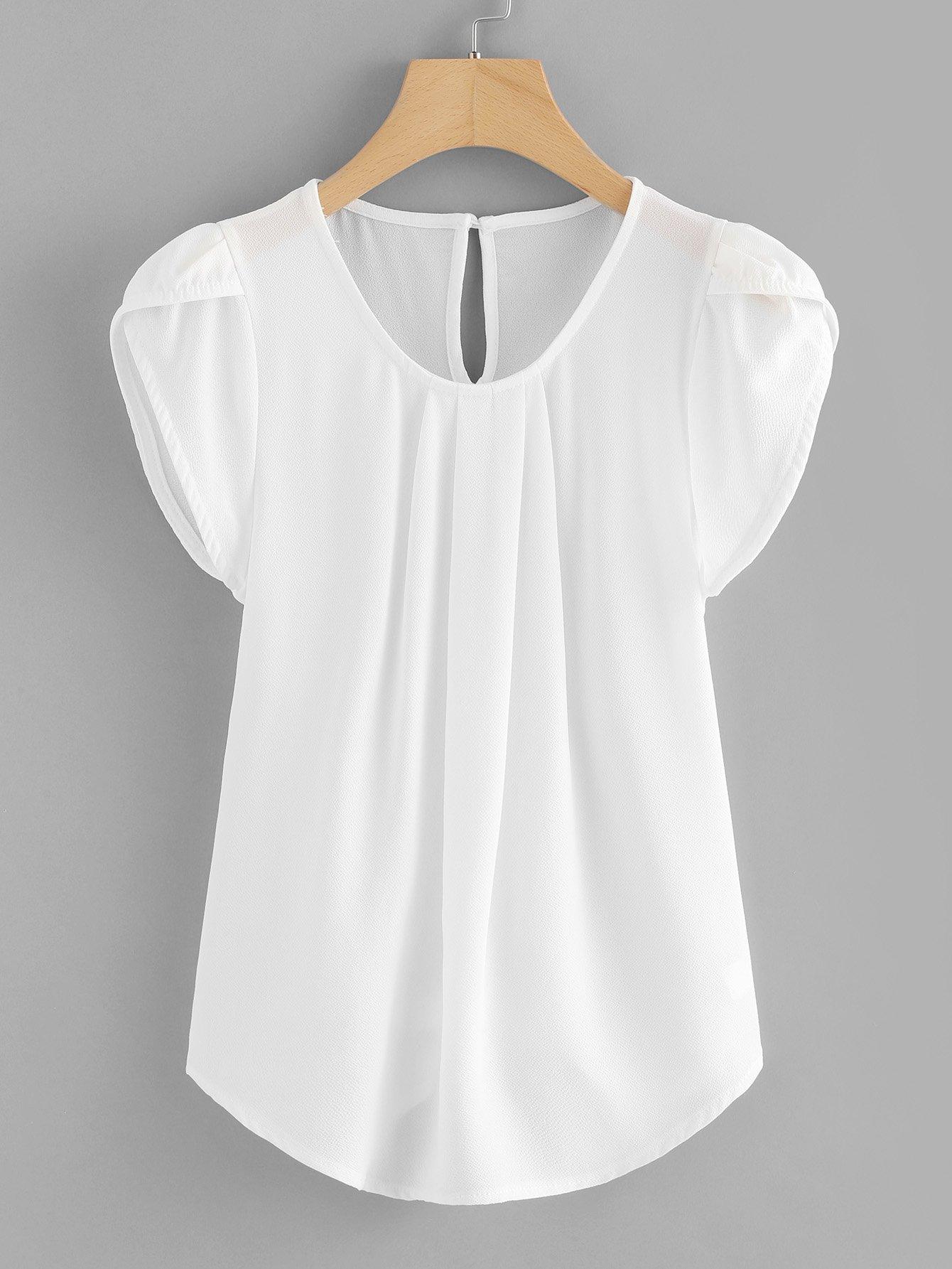 Petal Sleeve Pleated Detail Curved Hem Blouse batwing sleeve pocket side curved hem textured dress