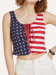 Lace Up American Flag Print Top