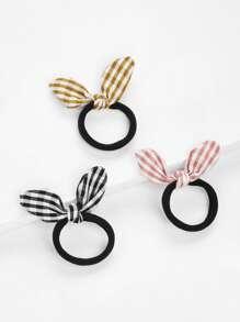 Gingham Knot Hair Tie 3pcs