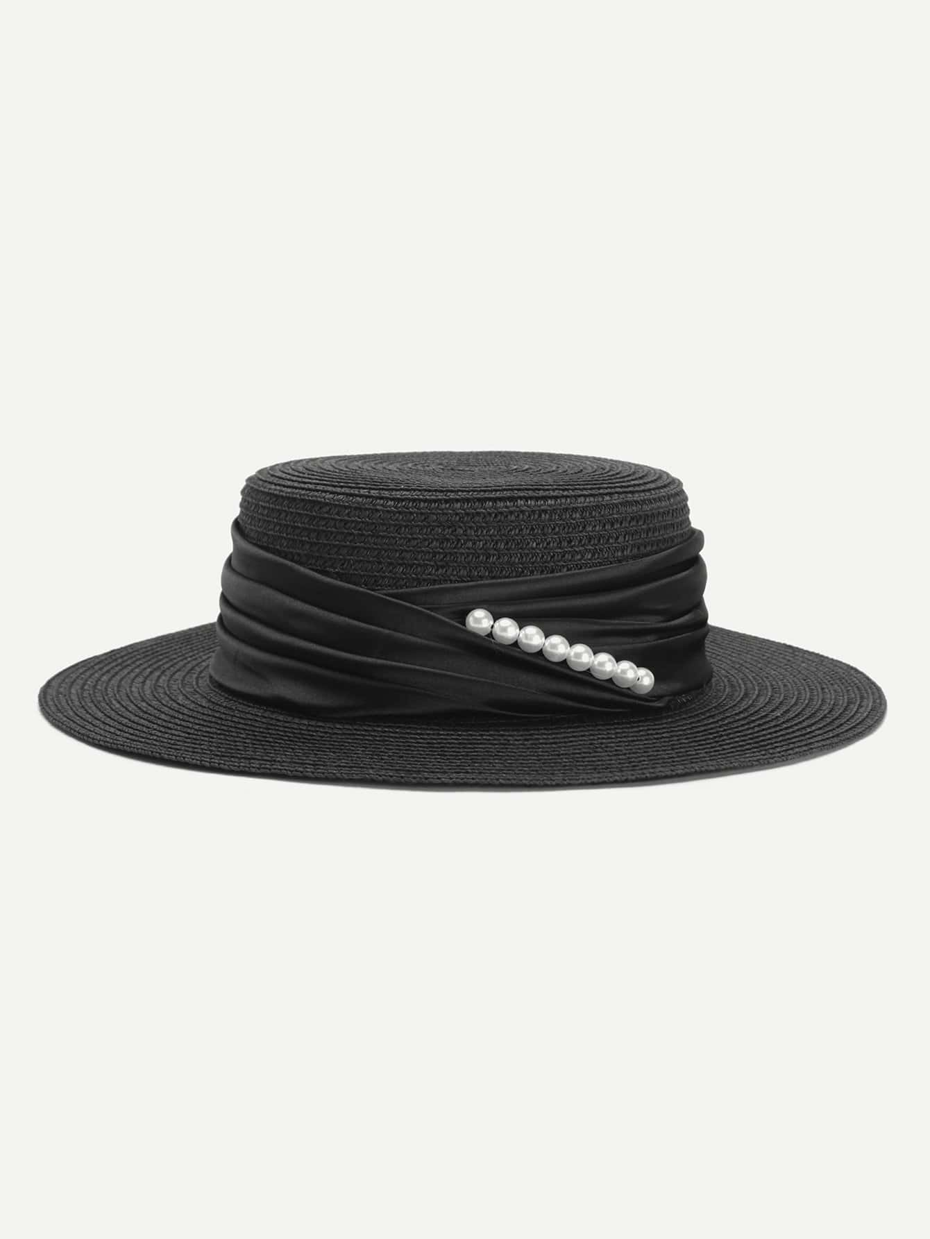 Faux Pearl Detail Straw Hat stetson men s breakers premium shantung straw hat