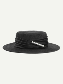 Faux Pearl Detail Straw Hat