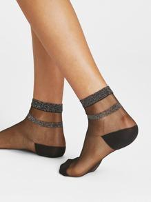 Glitter Hem Mesh Socks