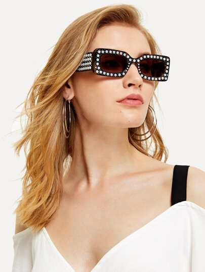 Faux Pearl Decorated Sunglasses