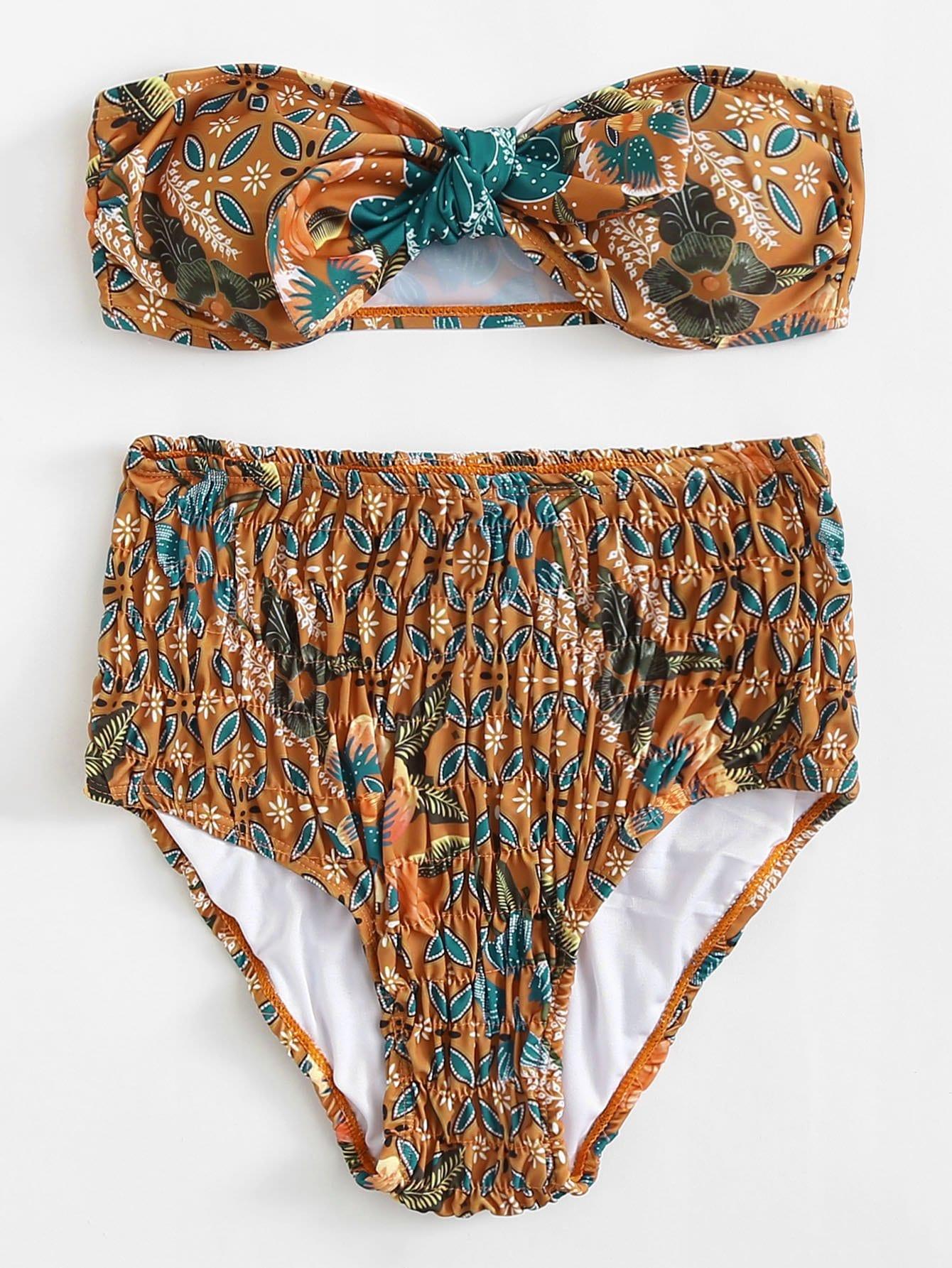 Shirred High Waist Bikini Set