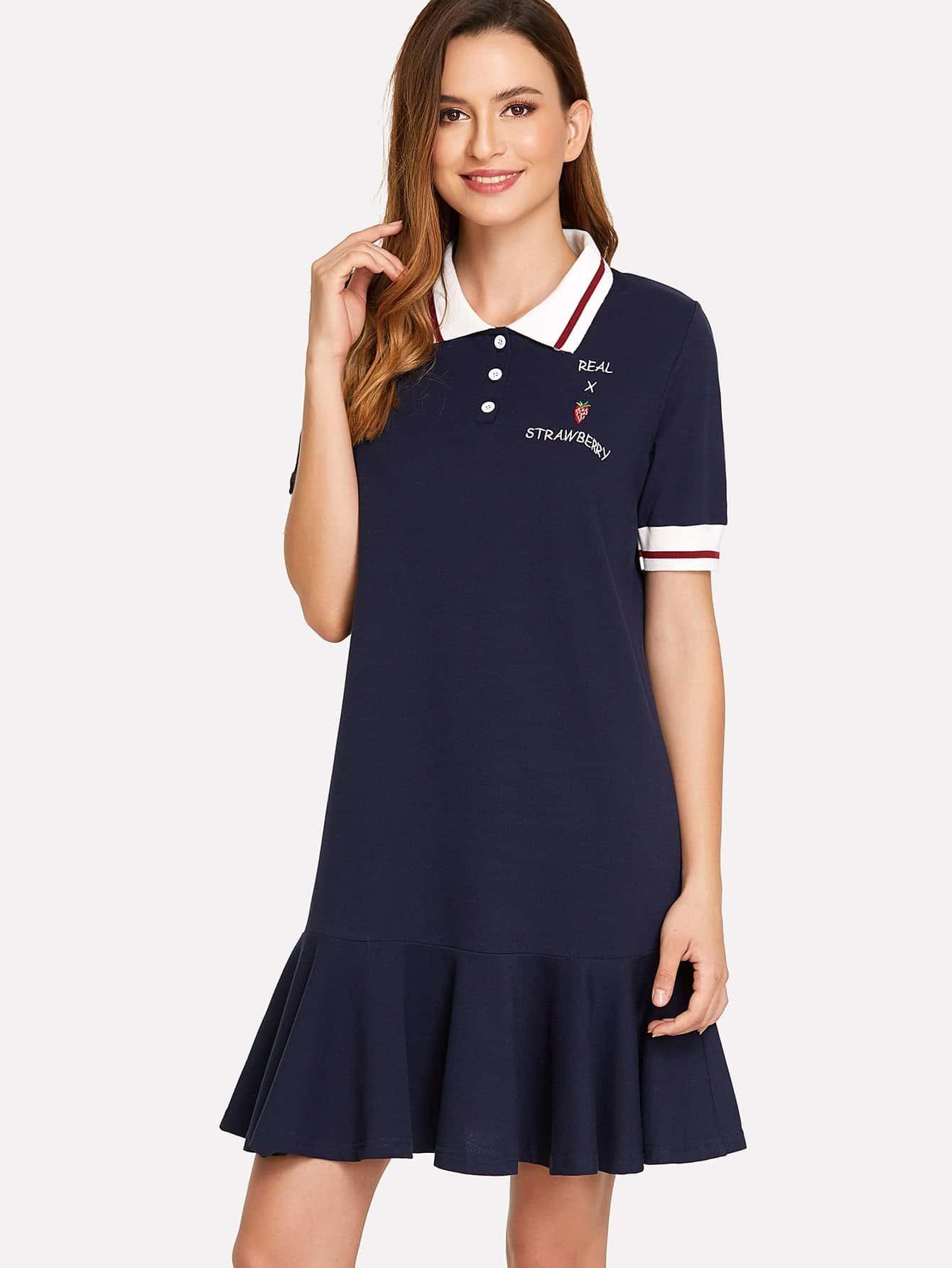 Letter Embroidered Stripe Contrast Ruffle Hem Dress stripe contrast ruffle hem hooded dress