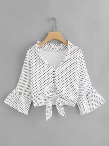 Flounce Sleeve Dot Print Knot Front Top
