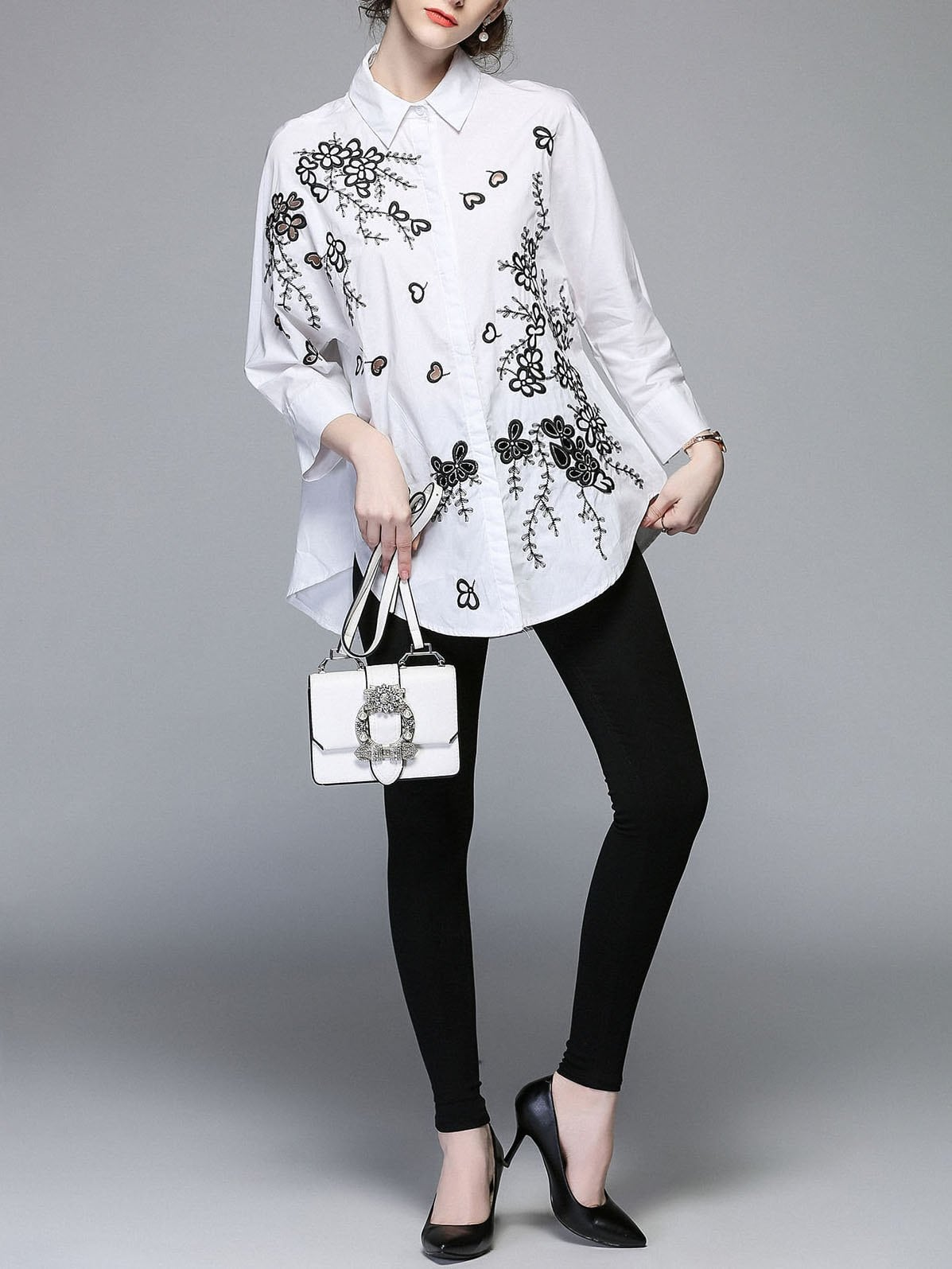 Floral Embroidered Longline Shirt цена
