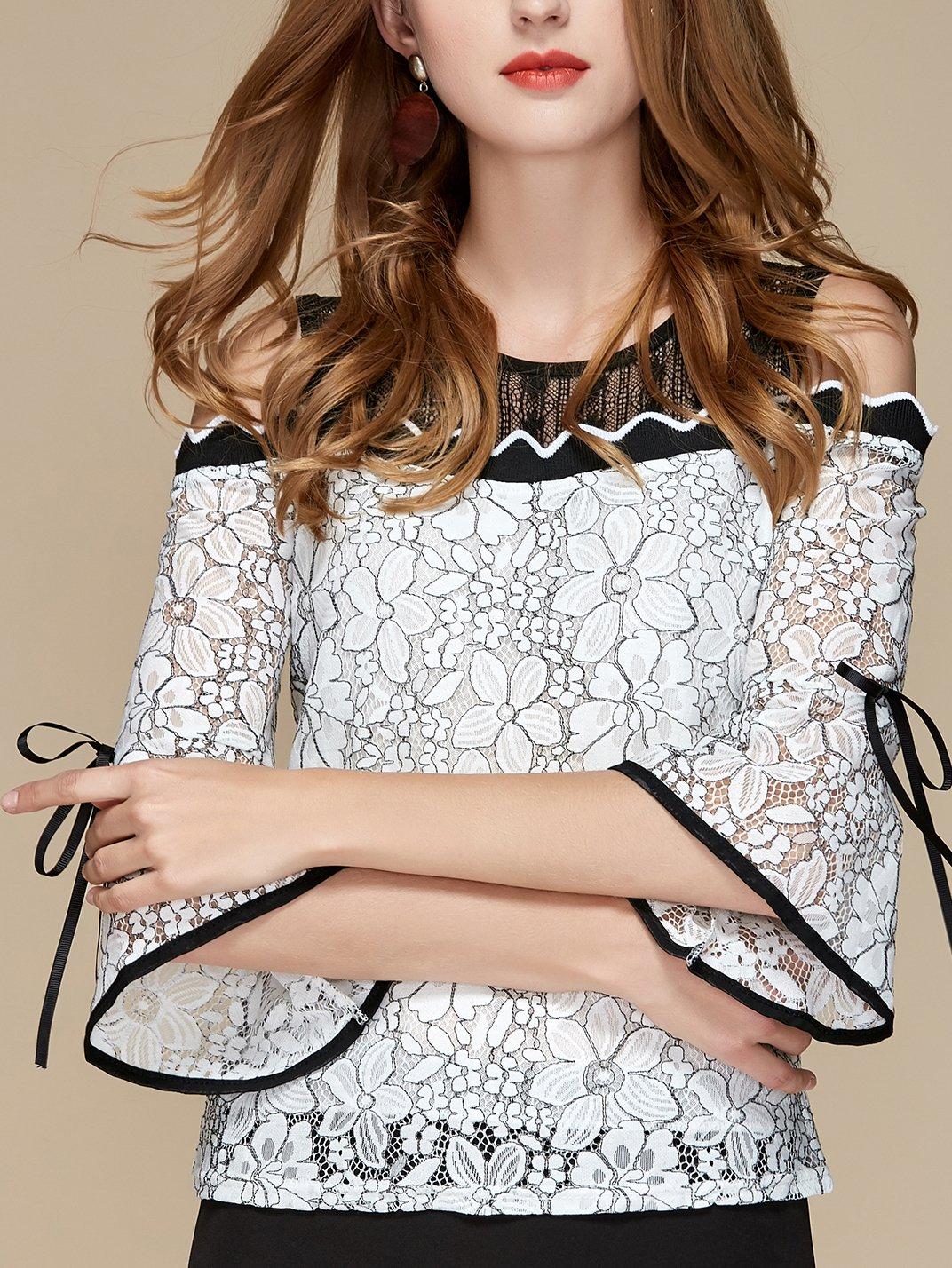Купить Блузка с открытыми плечами и широкими плечами, null, SheIn