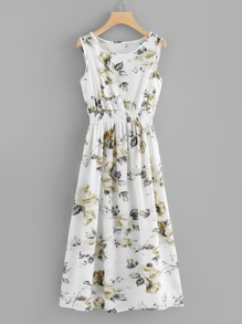 Botanical Print Elastic Waist Tank Dress