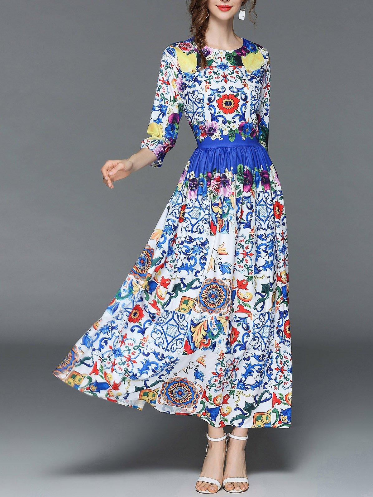 Botanical Print Longline Dress tribal print longline dress