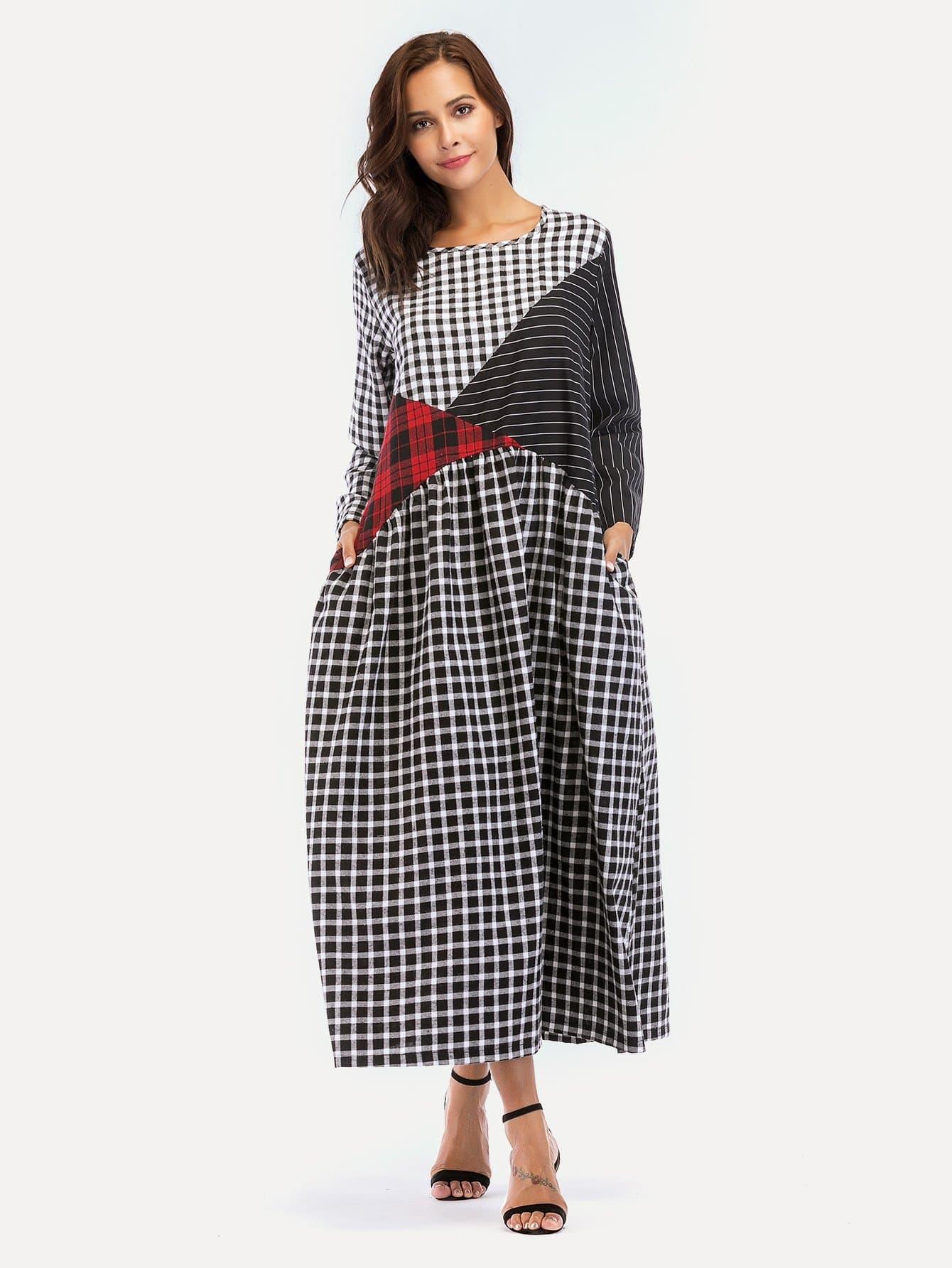 Stripe And Plaid Contrast Hidden Pocket Longline Dress hidden pocket striped dress