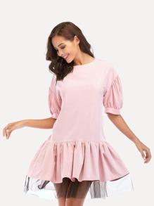 Mesh Contrast Ruffle Hem Dress