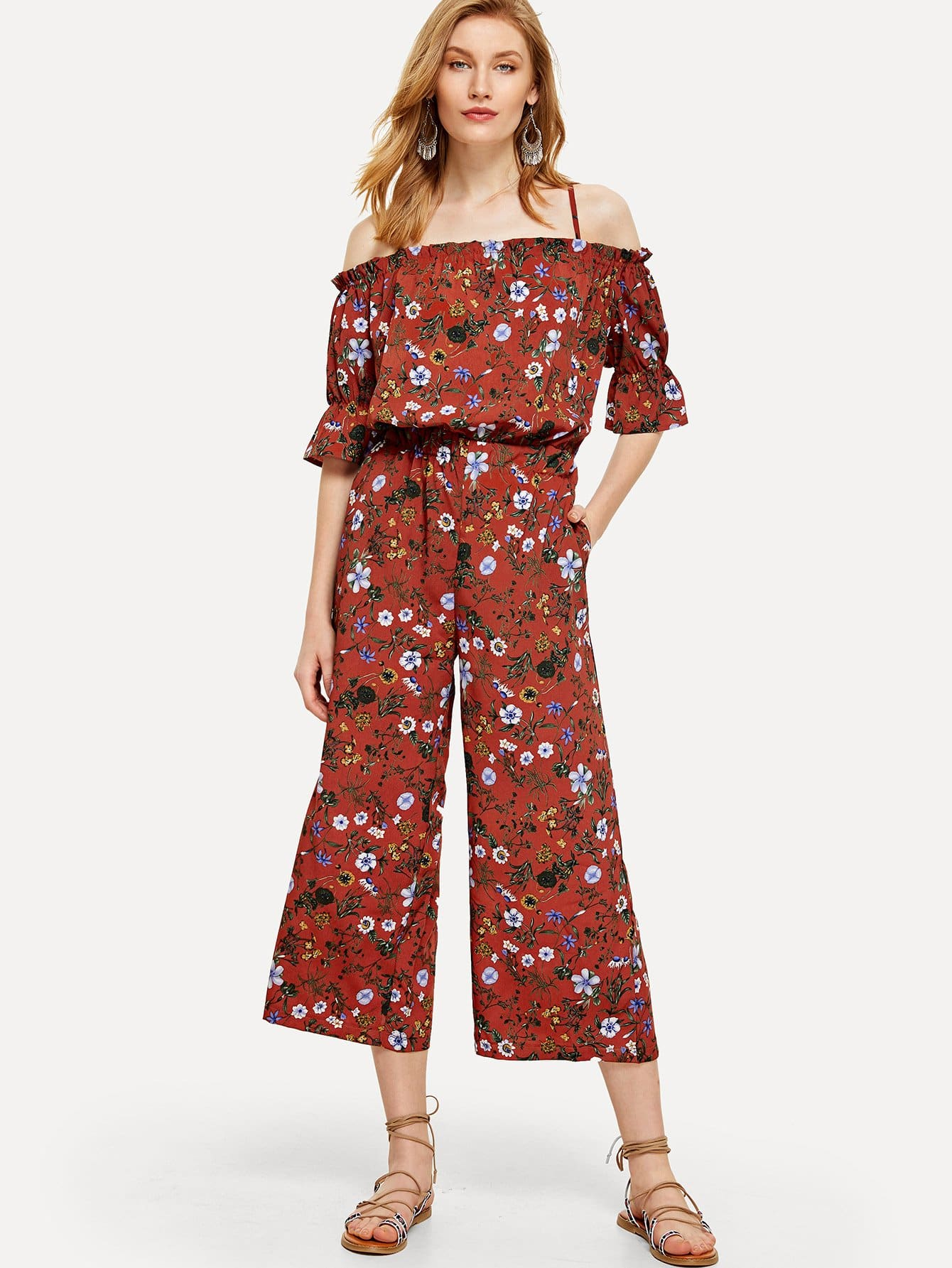 Open Shoulder Botanical Print Wide Leg Jumpsuit tropical print flounce off shoulder wide leg jumpsuit