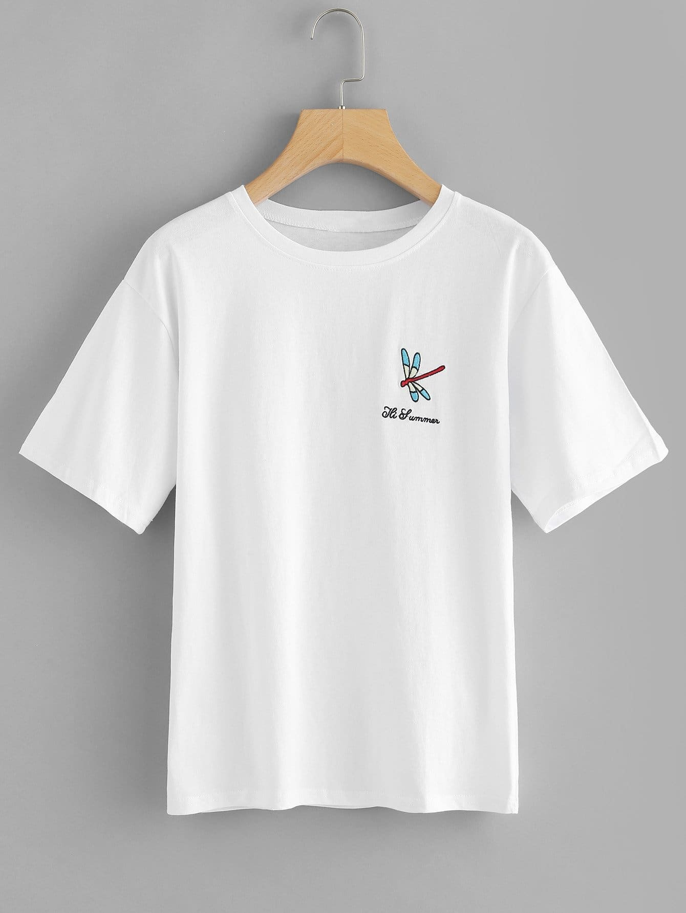 Letter & Dragonfly Embroidered Tee letter fish embroidered tee