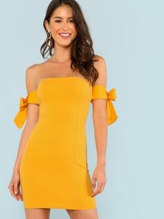 Tie Sleeve Bardot Bodycon Dress