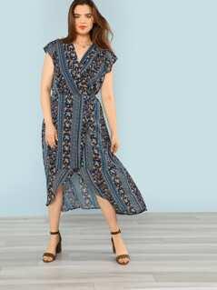 Plus Floral Print Wrap Maxi Dress
