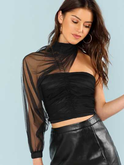 One Shoulder Ruched Mesh Crop Top