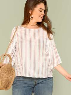 Plus Stripe Tiered Sleeve Top with Keyhole Back