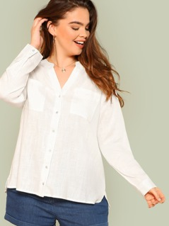 Plus Button Up Long Sleeve Top with Dual Pockets