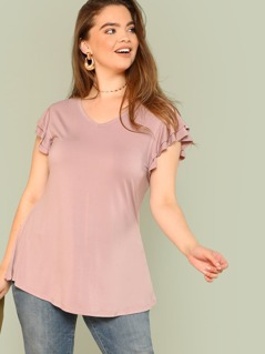 Plus Layered Flutter Sleeve Tee