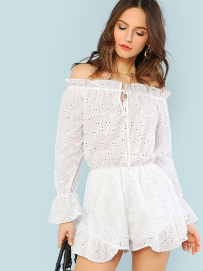 Eyelet Ruffle Cold Shoulder Romper